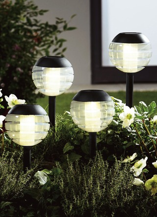 Solarleuchte, 4er-Set, mit Softone-LED