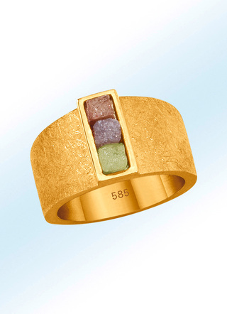 Partnerring mit Roh-Diamanten