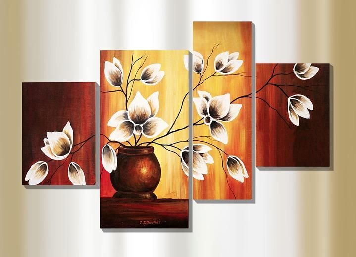 4 teiliges bild magnolien in vase vom k nstler rumin schilderijen bader. Black Bedroom Furniture Sets. Home Design Ideas