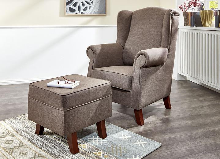 ohrenbackensessel mit hocker in verschiedenen farben gestoffeerde meubels bader. Black Bedroom Furniture Sets. Home Design Ideas