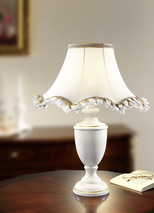 tischleuchte mit zauberhaftem schirm aus stoff lampen lampjes bader. Black Bedroom Furniture Sets. Home Design Ideas