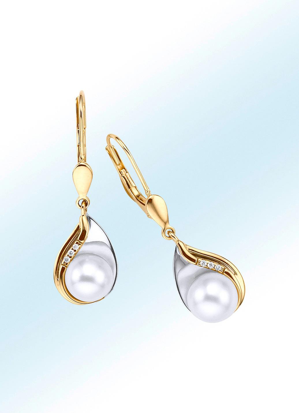 ohrringe mit perle und diamanten dames parel sieraden bader. Black Bedroom Furniture Sets. Home Design Ideas