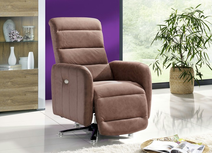 TV-Fauteuil / Relax-fauteuil - Relax-Sessel mit Metallgestell in Chrom-Optik, in Farbe BRAUN Ansicht 1
