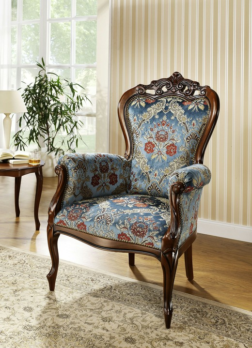 Stoel - Zitmeubel met Italiaanse charme, in Farbe NUTTREE-BLUE, in Ausführung Armleuningfauteuil Ansicht 1