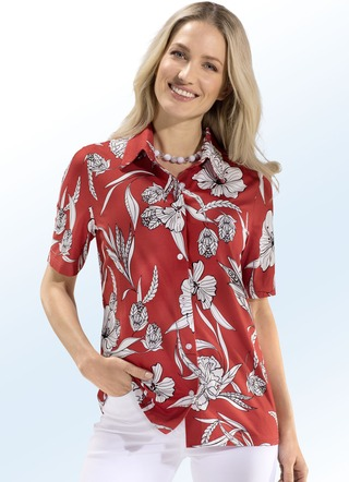 Shirtblouse in rood-wit-zwart