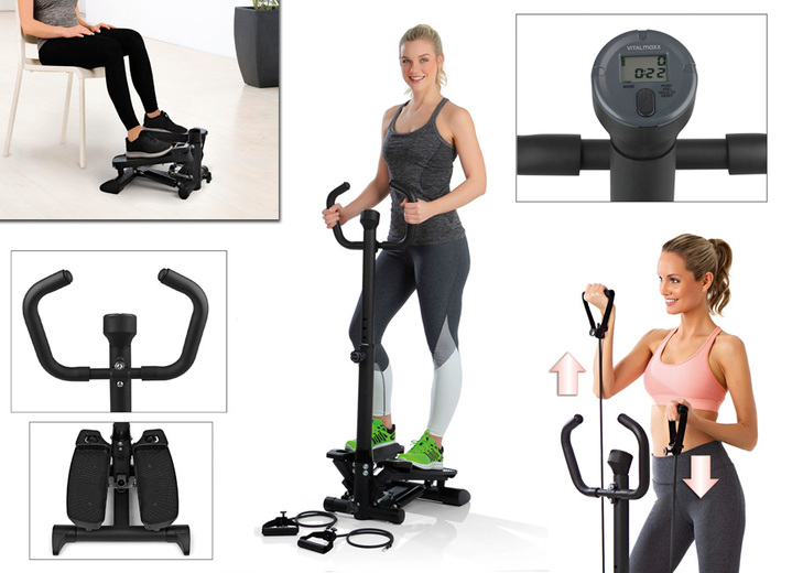 Fitness - Swing-Stepper 3 -in-1 met greep, in Farbe ZWART