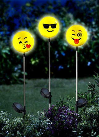 "Solar-Stecker ""Happy Face"", 3-er Set"