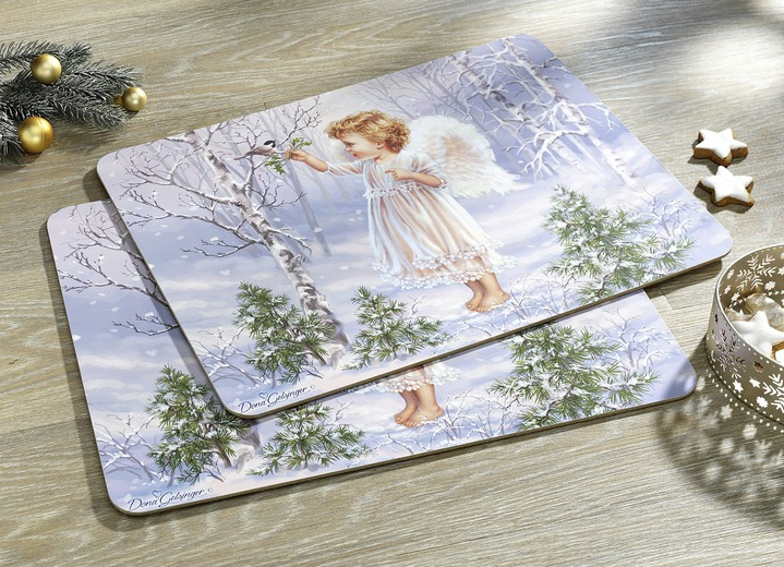 Woontextiel - Set placemats, 2-delig, in Farbe BLAUW-WIT